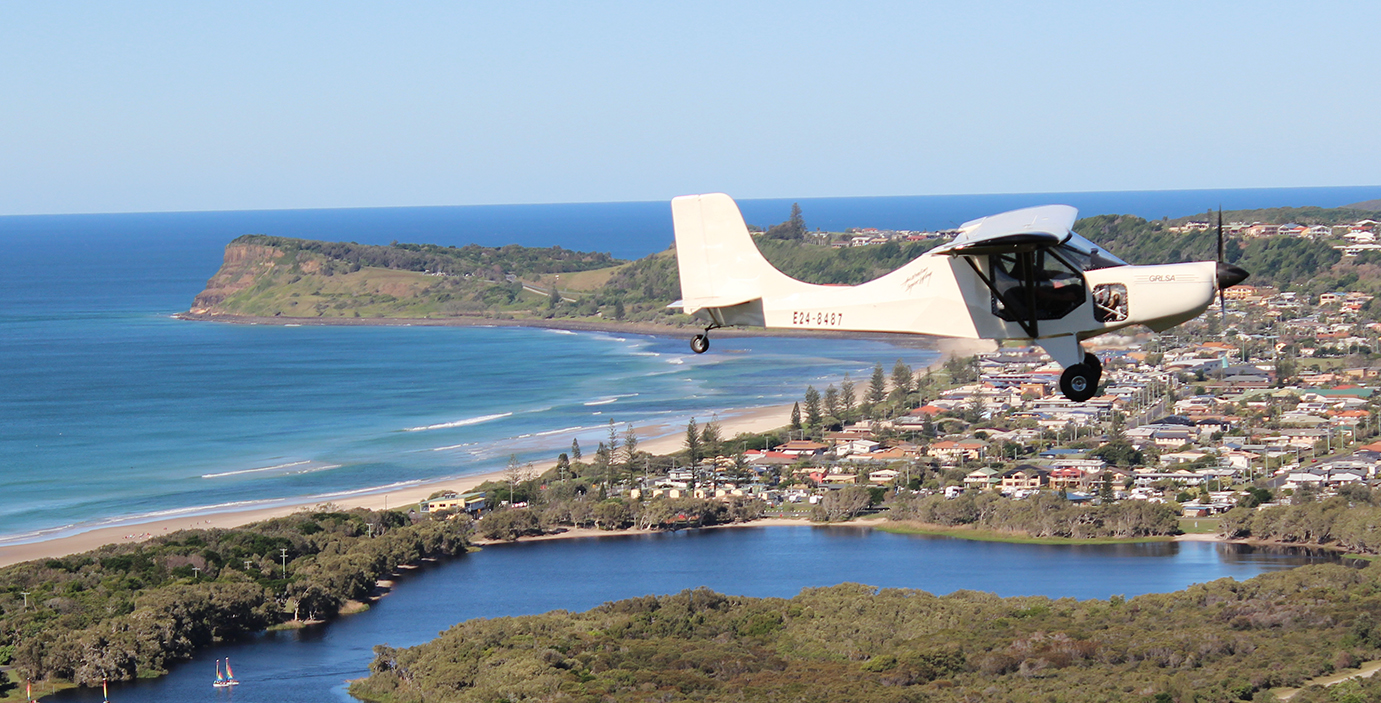 GR LSA 912 White In Flight over Lennox Head NSW