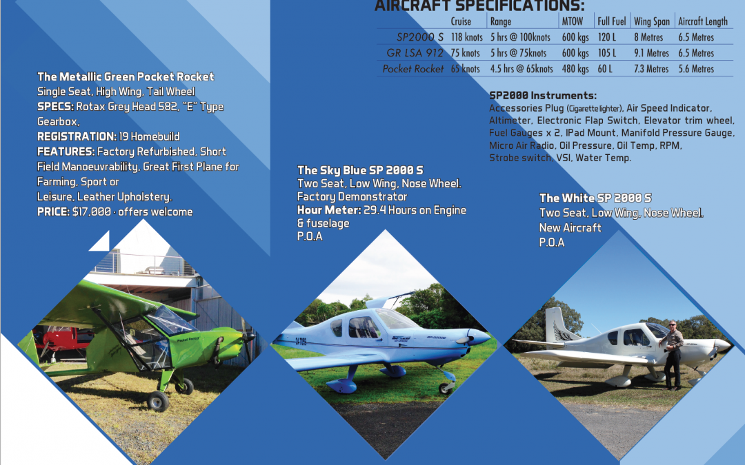 SP2000 and Pocket Rocket Aircraft for sale